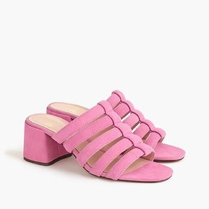 J. Crew Pink Strappy Penny Sandals Suede Block 7